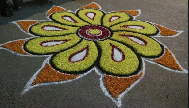 Easy and Simple Flower Rangoli Designs 2015