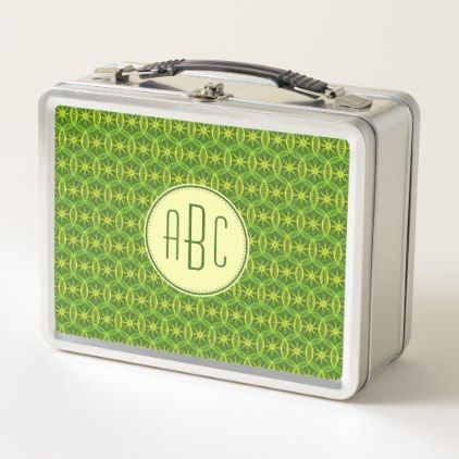 Monogram green yellow bicycle wheel pattern metal lunch box - monogram gifts unique custom diy personalize