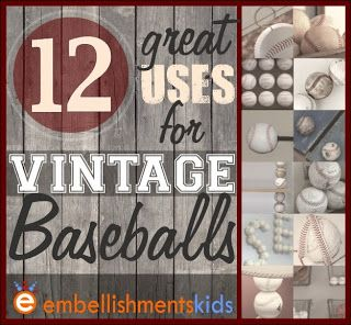 12 great ideas and uses for vintage baseballs. Ideas are perfect for boy's rooms, nurseries, man caves and baseball fans.