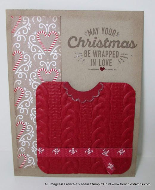 Stamp & Scrap with Frenchie: Frenchie's Team in the spotlight Holiday Catalog, cable Knit Embossing Folder stampin'Up!