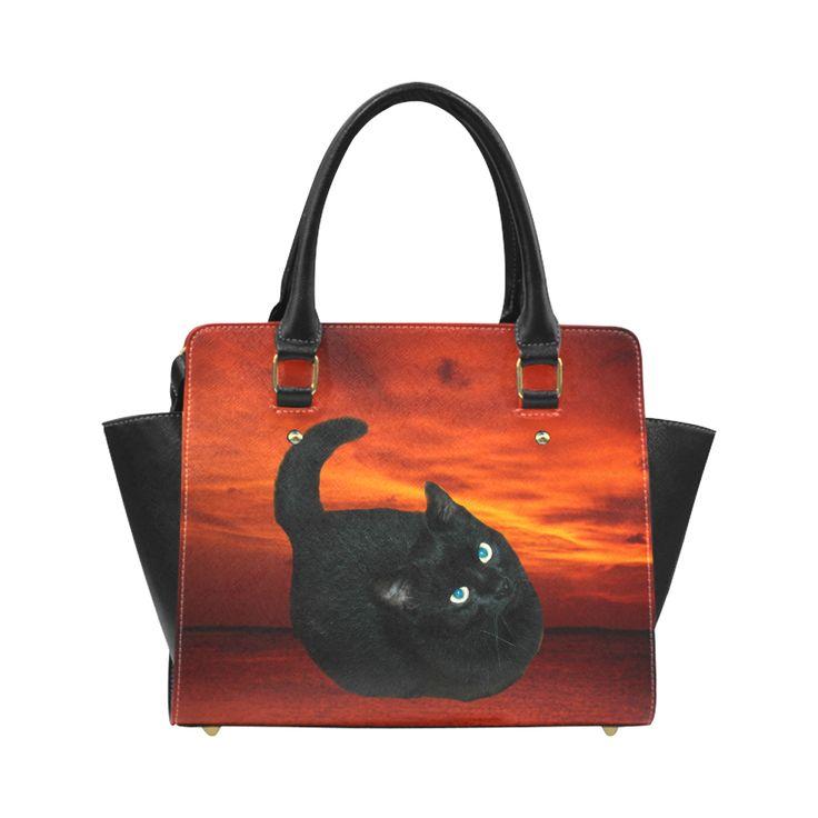 Black Cat Classic Shoulder Handbag (Model 1653)