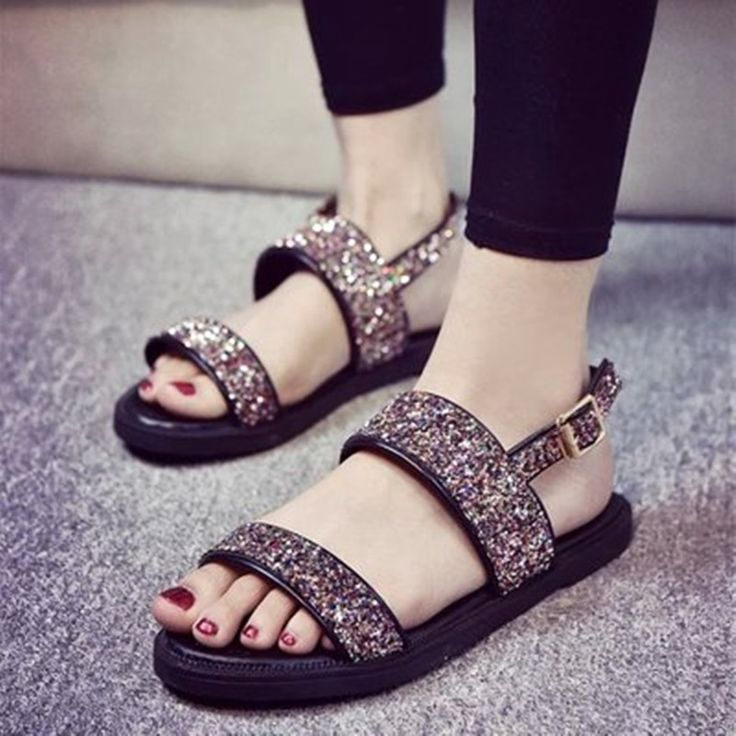 Pas cher Femmes sandales New Summer Sequin gladiateurs Bling Shinning sandales Flip Flops chaussures plates sandale Sandalias Mujer Anchor forme, Acheter  Femmes de Sandales de qualité directement des fournisseurs de Chine: