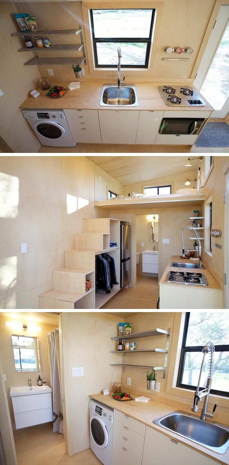 This tiny house kitchen includes a set of drawers, open shelving, a three-burner cooktop, and an apartment size refrigerator.