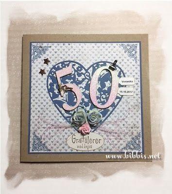 En av symøtejentene er 50 og da trengs et kort! Selve kortet er i kraftkartong og mønsterpapiret er fra Maja Design. Tallene er stanset u...