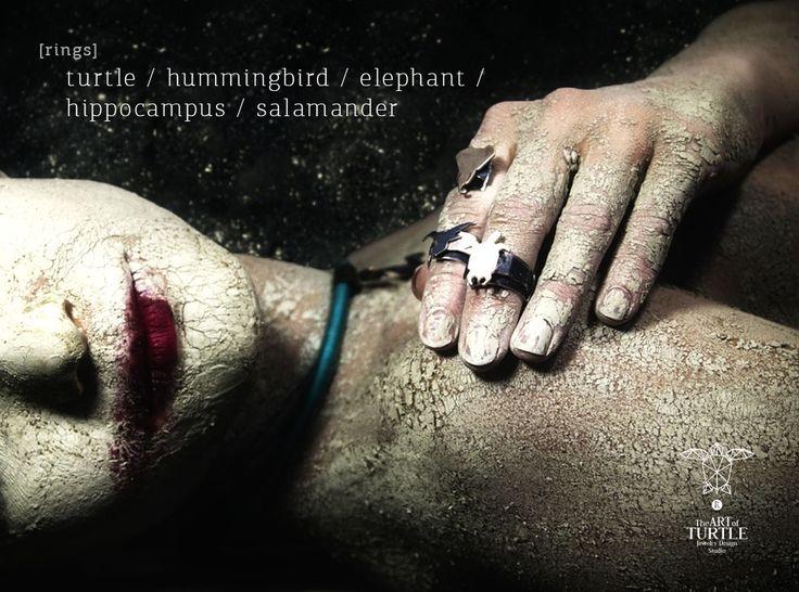 RINGS turtle / hummingbird / elephant / hippocampus / salamander Ανοιχτό δαχτυλίδι της συλλογής ''BALANCE OF ELEMENTS''.  Μπρούτζινα στοιχειά με τα ζώα που αντιπροσωπεύουν το κάθε στοιχείο. Αέρας - Κολιμπρί, Φωτιά - Σαλαμάνδρα, Νερό - Ιππόκαμπος, Γη - Ελέφαντας και στο κέντρο η χελώνα που κρατάει την ισορροπία στα 4 αυτά στοιχεία. http://goo.gl/QpRmzV make up artist: Nena Pnt photo: Spiros Mesasol