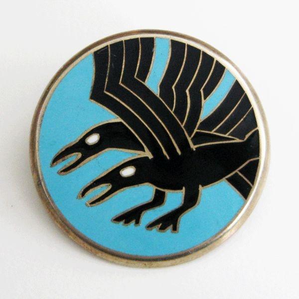 Vintage David-Andersen Norway Sterling Enamel Brooch Art Deco Raven Crow