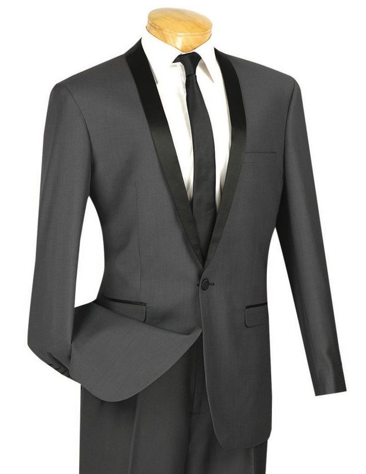 Men's Heather Gray Slim-Fit One Button Formal Tuxedo Suit NEW w/ FREE Shipping #suits #menswear #tuxedo #wedding #prom