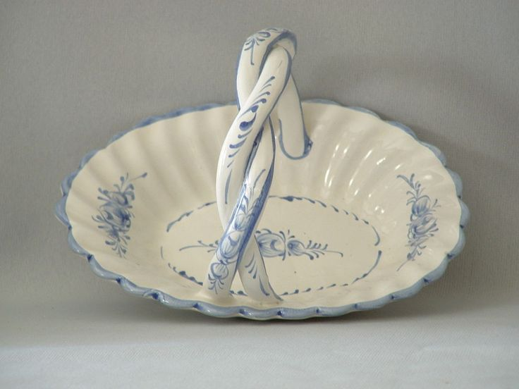"Hand Painted Blue Floral Design on White by Rul Portugal Dish with Handle 7.25"" #RulPortugal #Traditional"