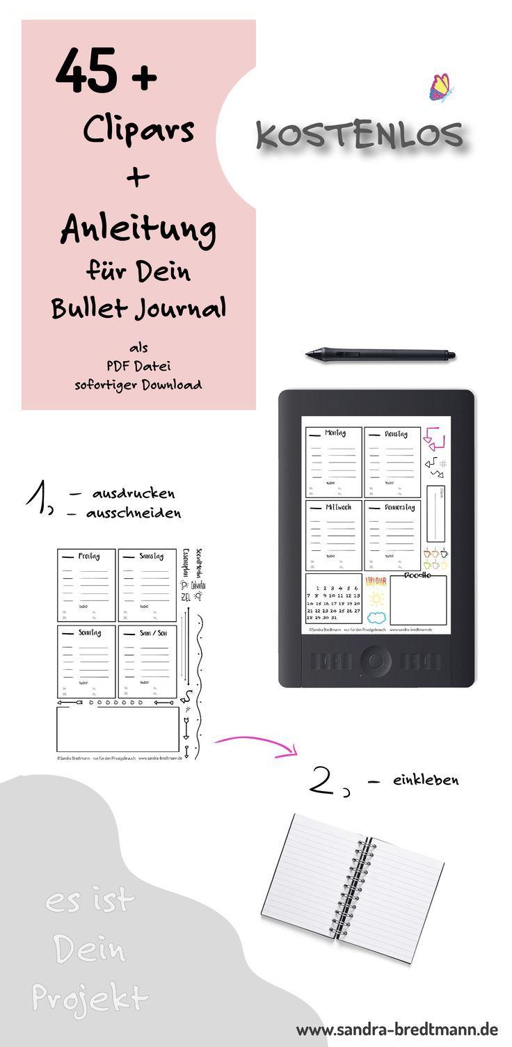 Bullet Journal Zum Ausdrucken Und Aufkleben Als Pdf Bullet Journal Journal Bullet Journal Vorlage
