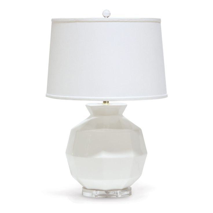 HOLLY CERAMIC TABLE LAMP Round Acrylic Base With Ceramic Body In Solid White Finish Topped A Cream Linen Tapered Shade And Ball Finial