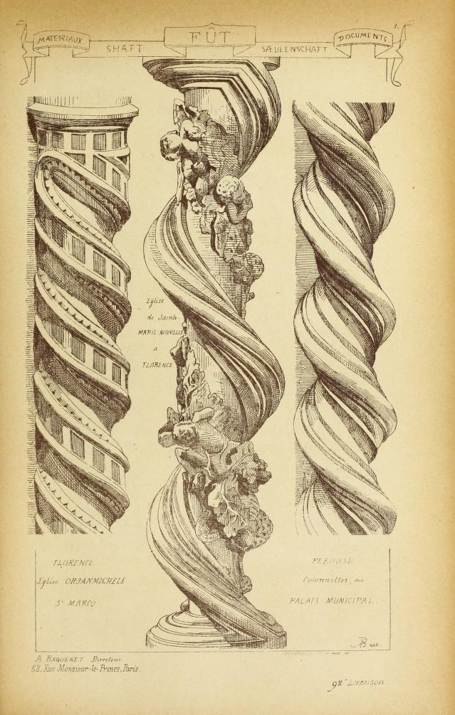 illustration 1914 - vol 4 Materials & documents of architecture and sculpture : A reissue of Matériaux et documents d'architecture et de sculpture, Paris, 1872-1914 - twisted or 'Solomonic' columns from the church of Orsanmichele in Florence, Italy