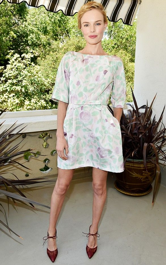 Kate Bosworth emulates a classic elegance through this sweet and chic floral frock. // #Fashion