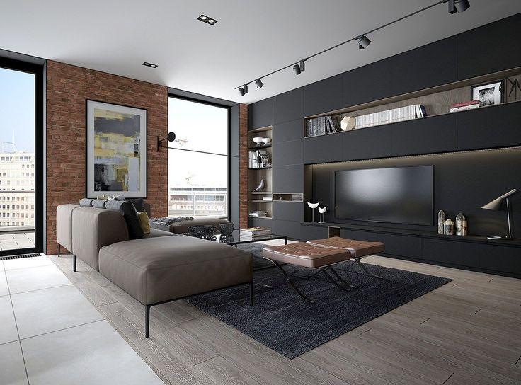 Soggiorno moderno industriale con divani grigi, sedie marroni, mobili neri e mattoni a vista