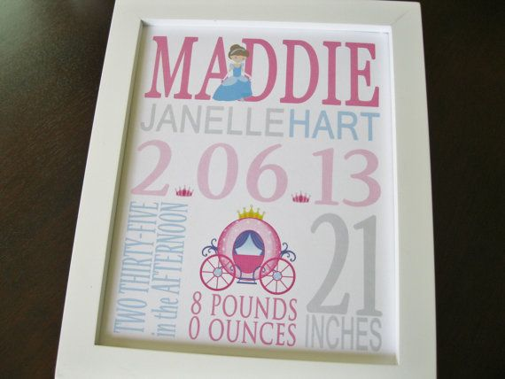 Children wall art - Nursery decor - Nursery art print - Princess birth print - Baby girl - MADDIE One of my best sellers! This custom birth print announcement is a beautiful piece of artwork for your babys room or a special, unique keepsake gift for the new parents. You may choose
