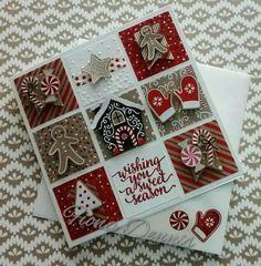 Stampin' Up Candy Cane Lane DSP Christmas Sampler Card