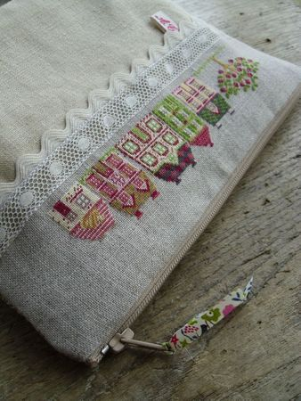 stitched houses pouch