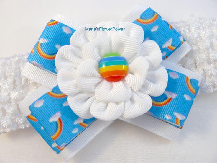 Crochet headband with Kanzashi flower bow/ elastic stretchy hair band for girls…
