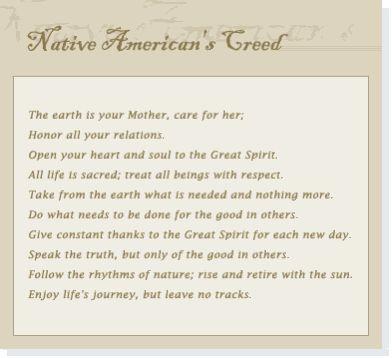 Native American's Creed