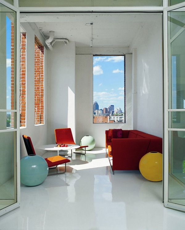 loft apartment decorating ideas glossy floors and colorful accessories artrs - Loft Apartment Furniture Ideas