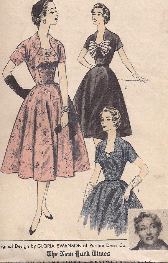 1950s - Gloria Swanson Original Design Dress - Vintage Sewing Pattern - Advance American Designer 7011