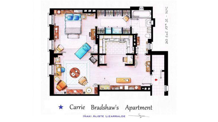 «Sex og singelliv»: Dette er Carrie Bradshaws TV-leilighet. (I filmen ser den visstnok litt annerledes ut.) Tegning av: Iñaki Aliste Lizarralde / Foto: fra serien