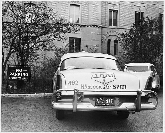 Rear of Taxicab Parked in No Parking Area, Beth Israel Hospital, Brookline Avenue, 3:20 P.M. by MIT-Libraries, via Flickr