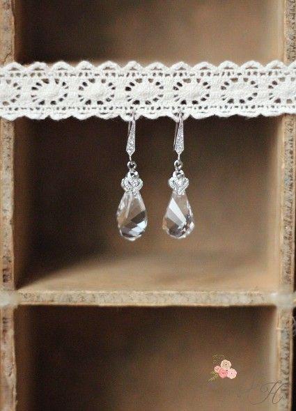 """Boucles d'oreilles mariée """"Amendine"""" avec gouttes de cristal"""