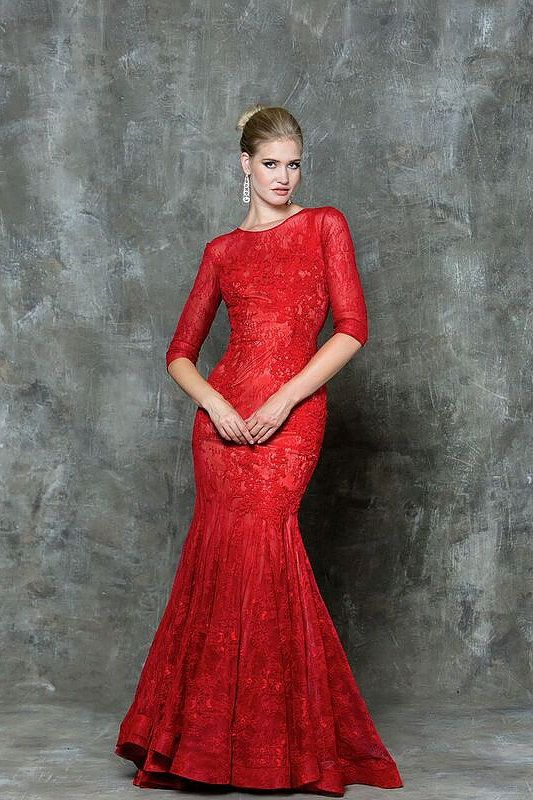 Prom dress.  Long sleeve red  evening gown full lace. Find it at Moscatel Boutique