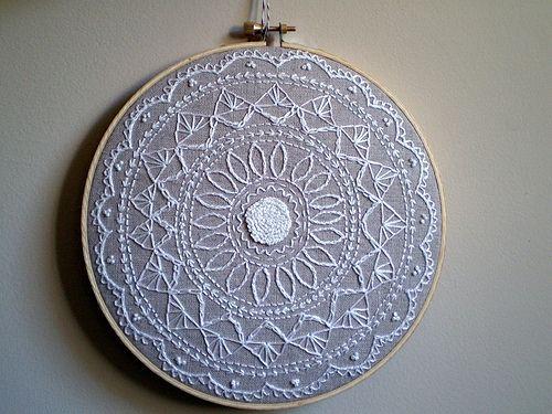 amazing beautiful gray and white embroidery mandala - wow.