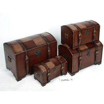 International Caravan Seville Set of 4 Faux Leather Trunks in Mix by International Caravan. $155.31. Finish: Mix Pattern. Pictured in Mix Pattern. Comes in 4 sizes all stored in one with buckle. Great for storing extras. Available in various colors. For over 44 years, International Caravan has been one of the leaders in quality outdoor and indoor furniture. Using only the finest materials, they bring skill, craftsmanship, and complete dedication to those who e...