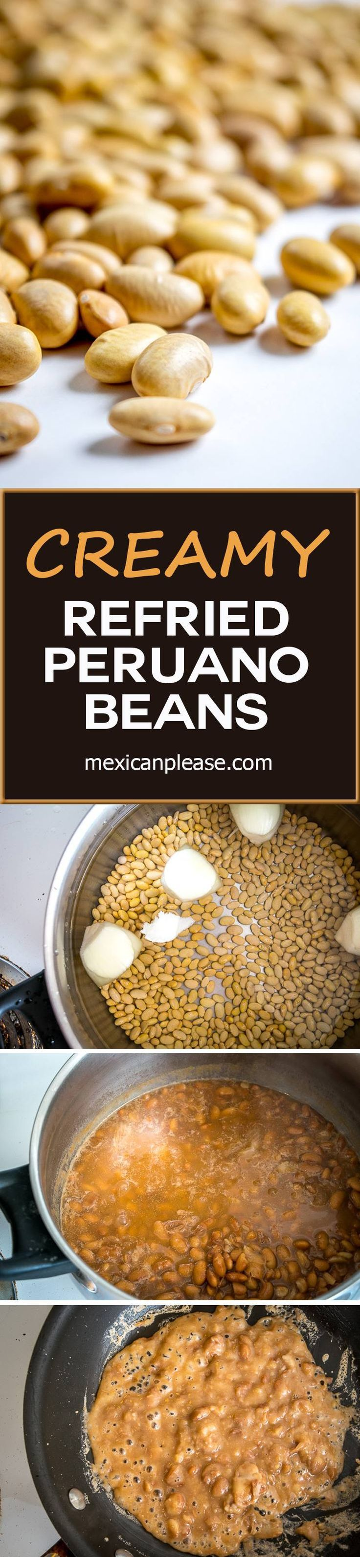 Once you try refried beans using Peruano beans you might never go back to Pinto beans!  Creamy, delicious, and easy to make!  http://mexicanplease.com