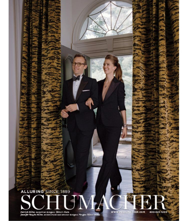 2014: Nothing says luxury like a richly woven animal motif. Derrick Miller and his wife, Jennifer Vaughn Miller arrive in black-tie style through foyer curtains in Serengeti, a sumptuous chenille worth dressing up for.