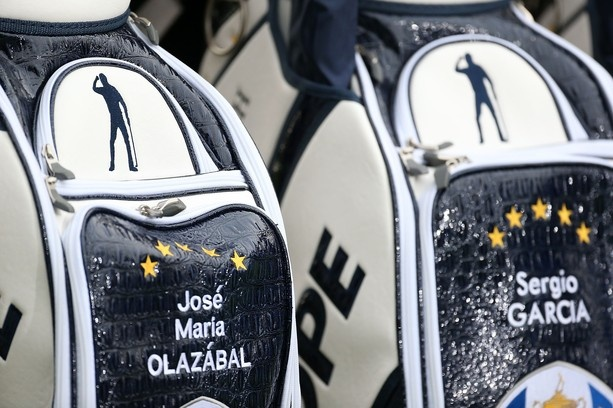 MEDINAH, IL - SEPTEMBER 25:  A Seve Ballesteros logo is seen on European Team golf bags of Jose Maria Olazabal and Sergio Garcia during the second preview day of The 39th Ryder Cup at Medinah Country Golf Club on September 25, 2012 in Medinah, Illinois.  (Photo by Andy Lyons/Getty Images)
