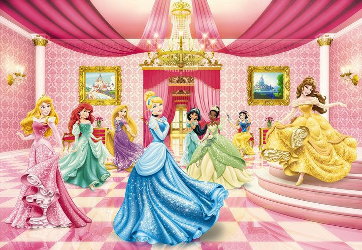 Wall mural photo wallpaper princess ballroom wall art for for Disney princess wall mural tesco