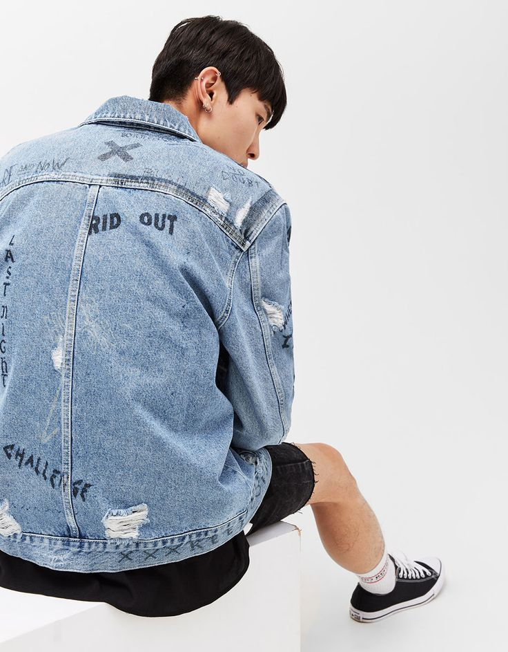 Printed oversized denim jacket. Discover this and many more items in Bershka with new products every week