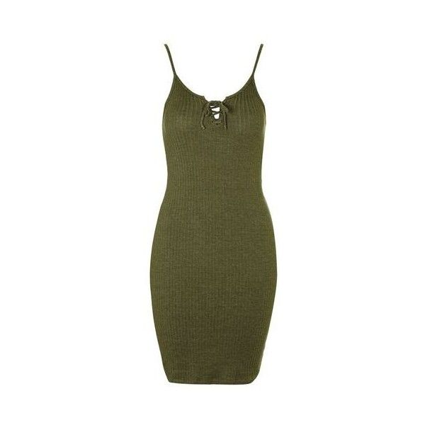 TopShop Lace-Up Mini Dress ($32) ❤ liked on Polyvore featuring dresses, khaki, green body con dress, green dress, bodycon mini dress, jersey dress and short bodycon dresses