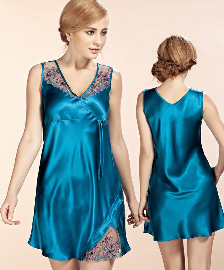 100% шелк пижамы женщин летом рукавов шелковой ночной рубашке 2539, принадлежащий категории Ночные сорочки и рубашки и относящийся к Одежда и аксессуары для женщин на сайте AliExpress.com | Alibaba Group