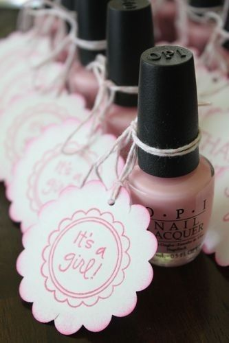 Such a cute idea for a Girl baby shower - OPI Nail Polish available to purchase at L. Spa! You could even do tags for a bachelorette party and have the polish be the future Mrs. wedding colors! L. Spa: 941.906.1358