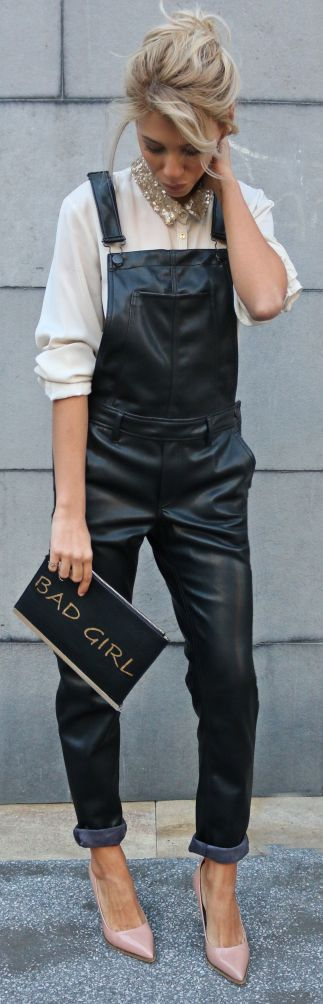 URBAN[spring]: leather overalls; off white shirt; beige pumps