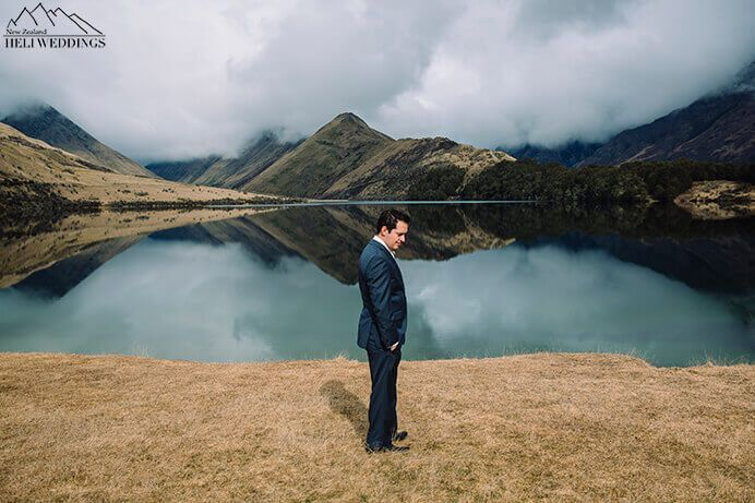 Groom at Moke Lake Wedding, Queenstown, NZ