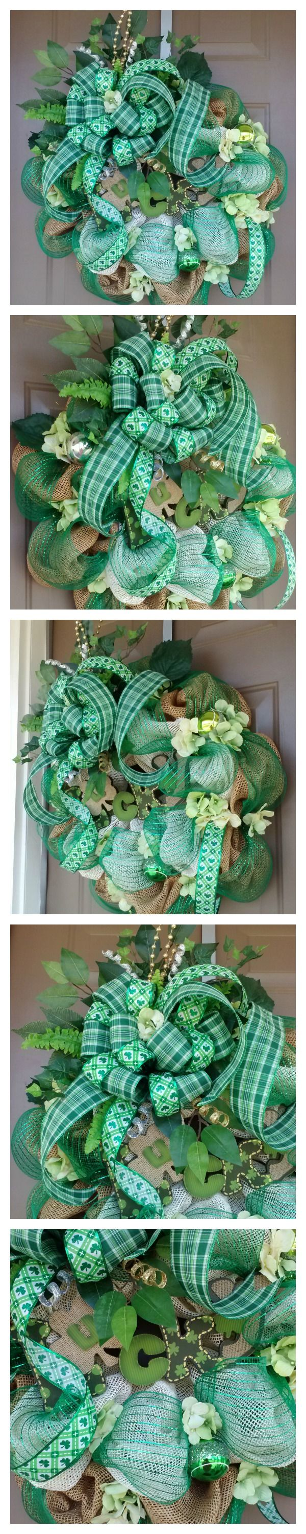 """""""Lucky""""St. Patrick's Day soft burlap deco mesh wreath by Over and Beyond Designs  www.facebook.com/overandbeyonddesigns"""