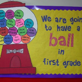 door/Bulletin board idea - we are going to have a ball in Bible class