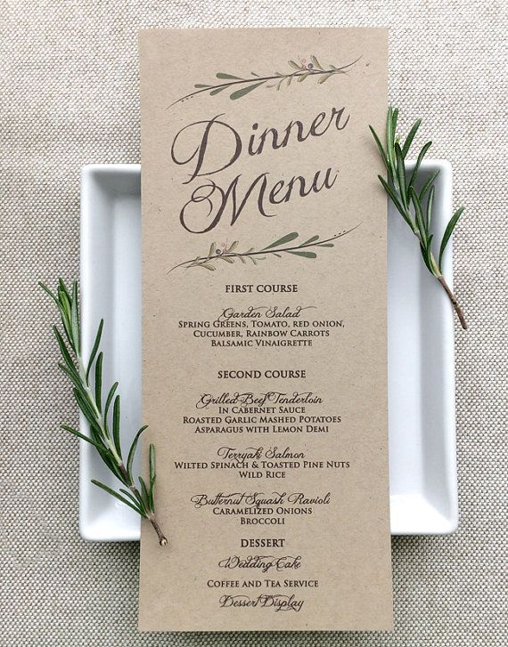 Wedding Menu Card Rustic Wedding Menu Cards by SideStreetDesigns