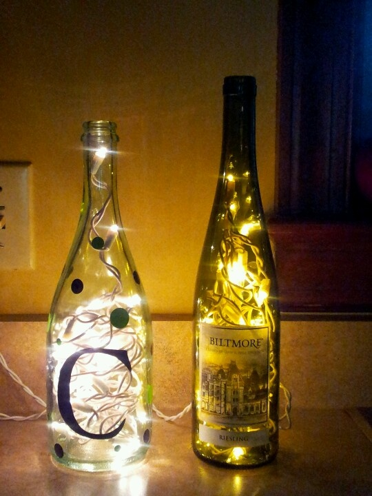 1000 images about lighted bottles on pinterest drill for Glass bottles with lights in them