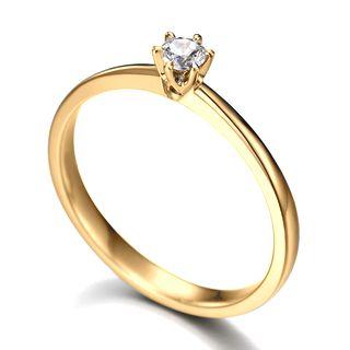 anel solitario de noivado em ouro