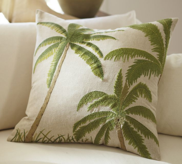 three palms embroidered pillow cover from pottery barn find this pin and more on palm tree throw pillows
