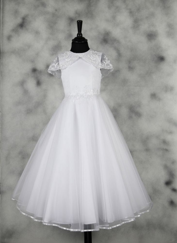 First Communion Dress - Great Gatsby Vintage Inspired Satin with Lace Cape - Eliza - Isabella Collection - New 2015
