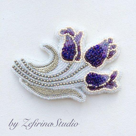 Flower brooch Bouquet of Lilac tulips от ZefirinaStudioStore