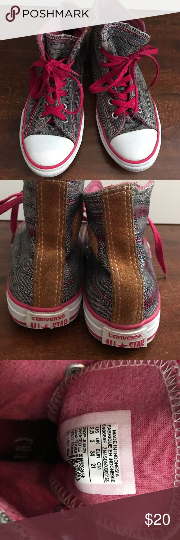 Converse high tops Converse high tops for junior size US 2.5 worn twice but like new very cute and chic for girls!! Converse Shoes Sneakers