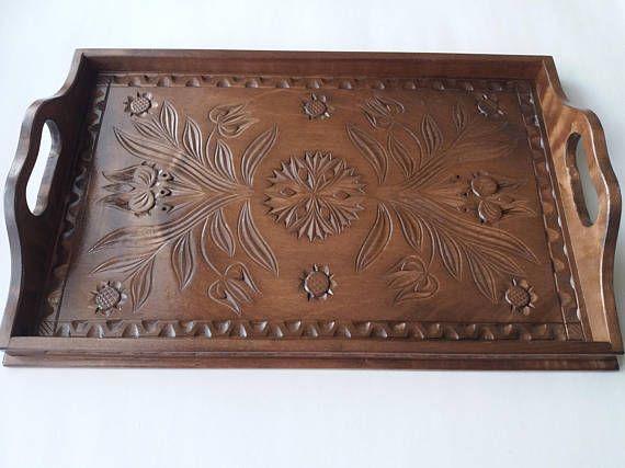 Neue große braune handgeschnitzt Tablett, Tablett, dekorative Platte, Wohnkultur, Servierplatte, einzigartige Tablett, Geschenk für Frau, Geschenk für Mädchen, rustikal, Holz Tablett